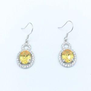 Jewelry - 🛍925 SS Yellow Cubic Zirconia Dangling Earrings🛍